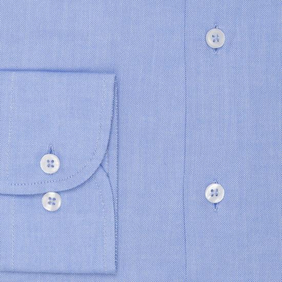 Camisa azul de lino principe de Gales.