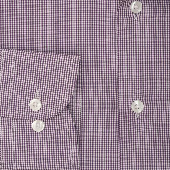 Camisa morado príncipe de Gales cuadro pequeño.