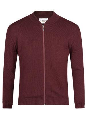 Suéter de cierre Jersey Vinotinto